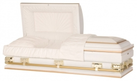 White and Gold 18 Gauge Steel Casket